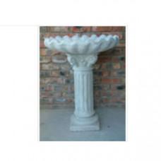 Scallop Tall Pillar Bird Bath